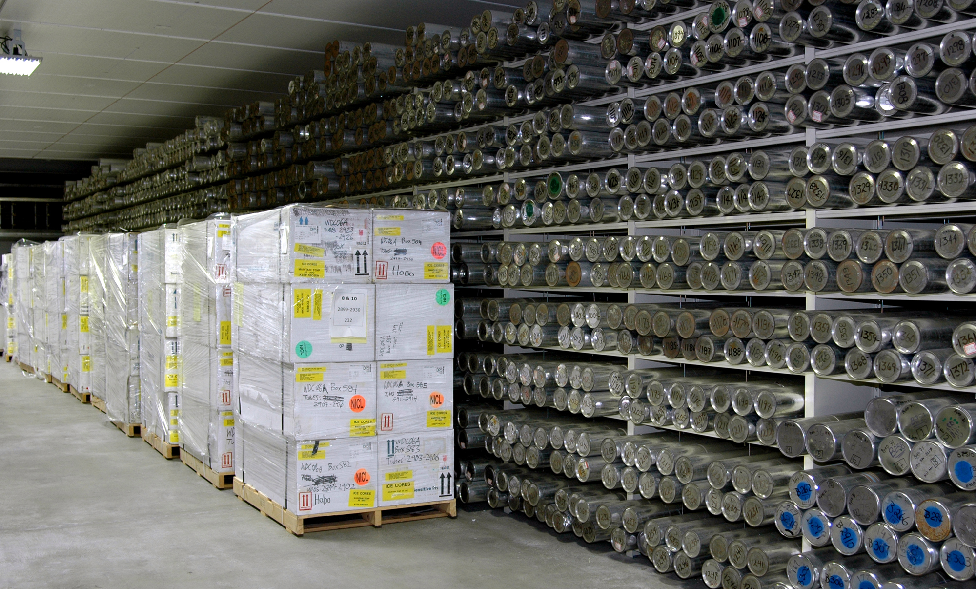 Each silver tube on these shelves contains a 1-meter long section of an ice core