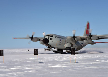 "An LC-130 Hercules ""Skibird "" from the New York Air National Guard's 109th Airlift Wing takes off from Raven Camp near Kangerlussuaq, Greenland"