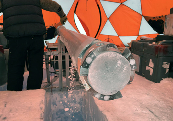 Badger-Eclipse drill with an ice core inside of it