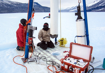 A special drill is used to extract ice cores from Taylor Glacier for a study using microscopic grains of dust to understand past atmospheric and climate conditions on Earth