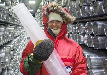 Professor Lisa Bastiaans, Nassau Community College, gets her first exposure to an historic ice core