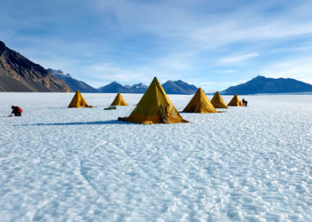 Tents on Taylor Glacier, Antarctica