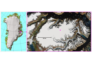Left, map of Greenland, showing the location of the Renland ice cap. Right, satellite image of the Renland peninsula, which is almost entirely covered by the Renland ice cap