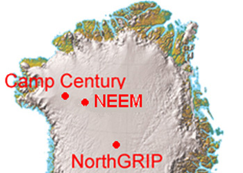 Image of Greenland showing location of NEEM ice core