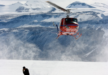 Paul Rose coordinates helicopter support on Taylor Glacier, Antarctica