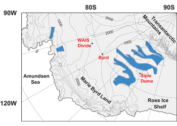 Map showing the location of WAIS Divide in Antarctica
