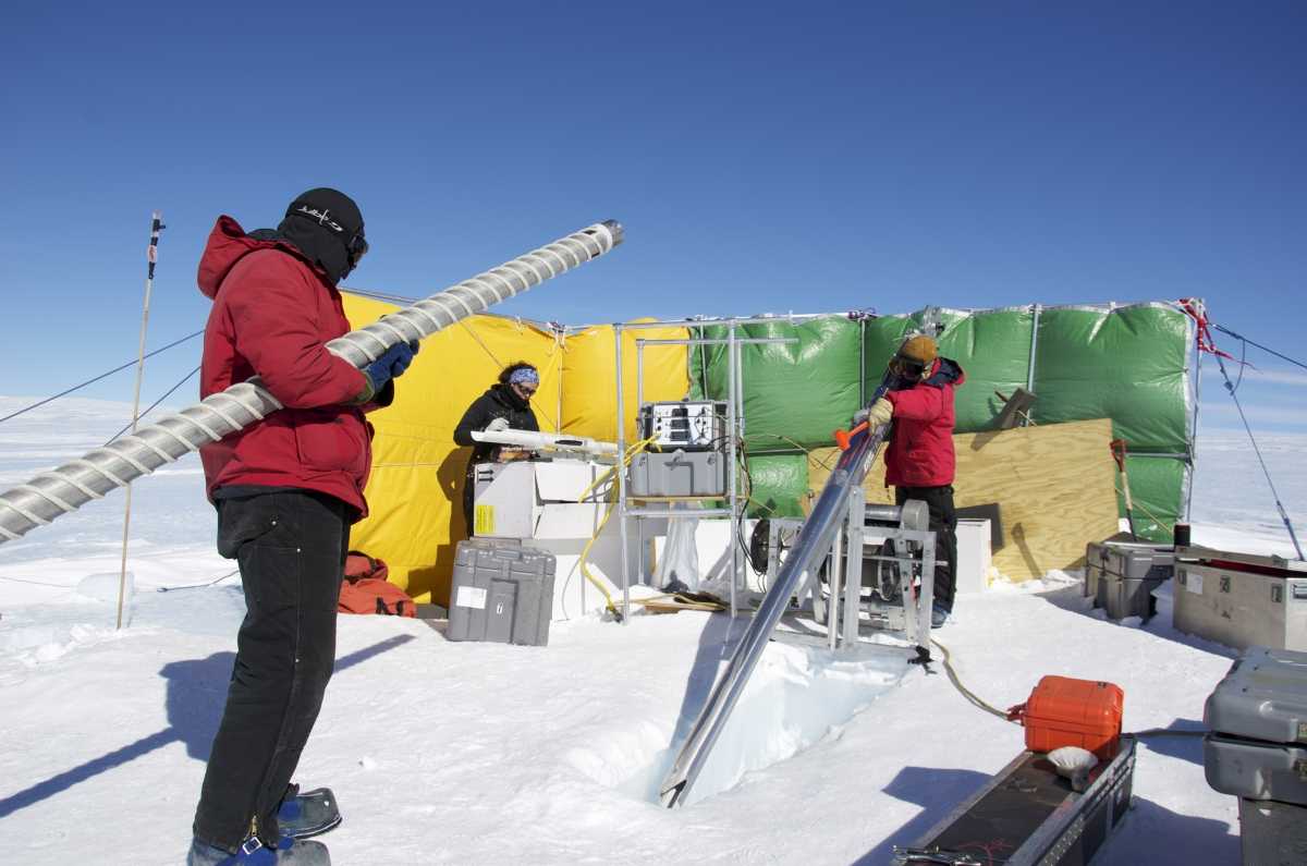 Scientists at Allan Hills, Antarctica use the Badger-Eclipse electromechanical drill to look for ice as old as 2.5 million years