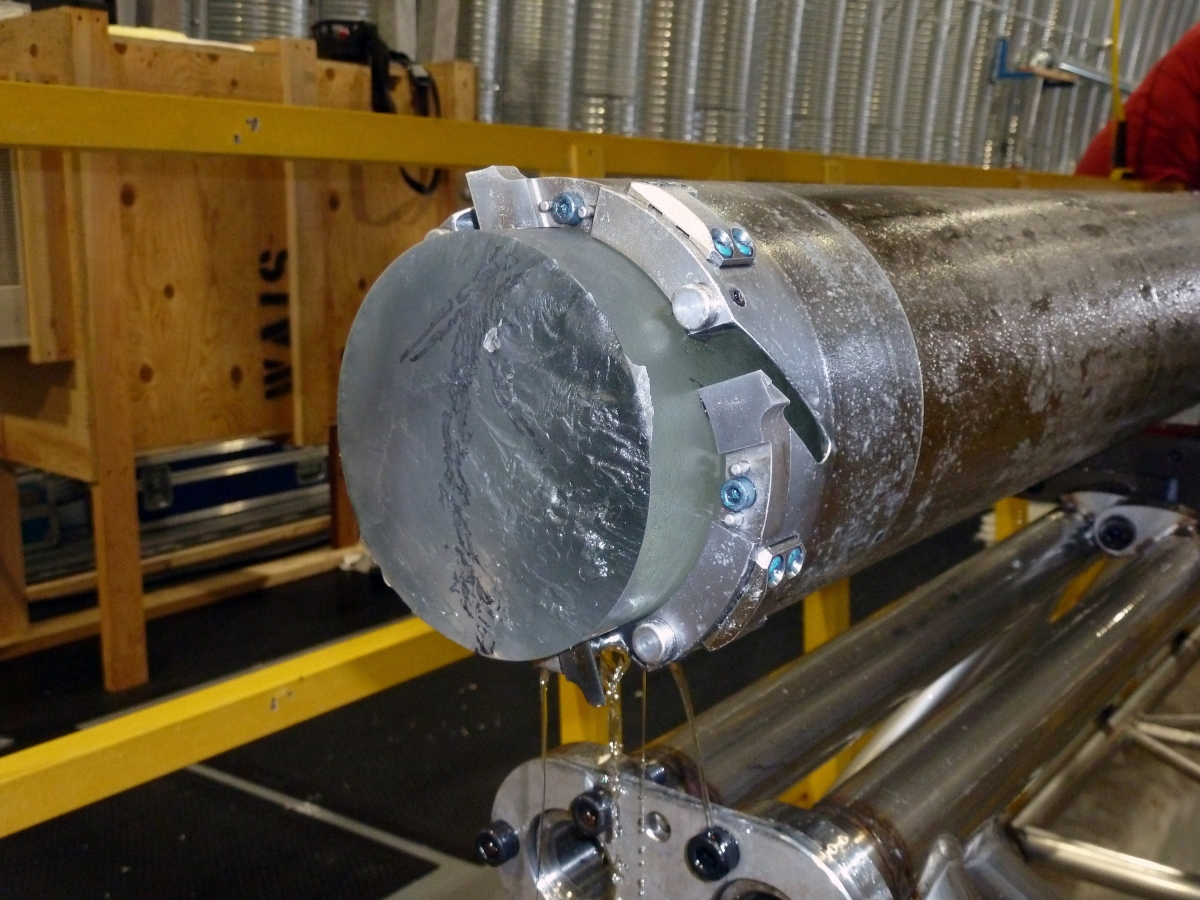 The DISC Drill's cutter head and core barrel with an ice core inside