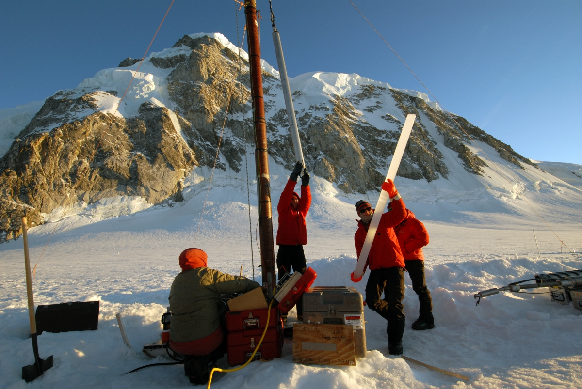 A 2-meter section of ice core from Combatant Col, British Columbia, is removed from an electrothermal drill