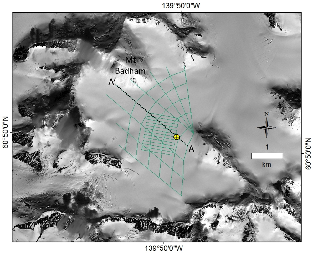 Quickbird satellite image of Eclipse Icefield showing the location of all ice-penetrating radar transects (green lines) collected to measure glacier thickness relative to the ice core site in 2002 and 2016 (yellow bullseye)