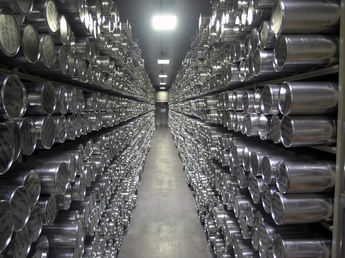 Rows of insulated tubes store ice cores dating back hundreds of thousands of years at the National Ice Core Laboratory's freezer archive