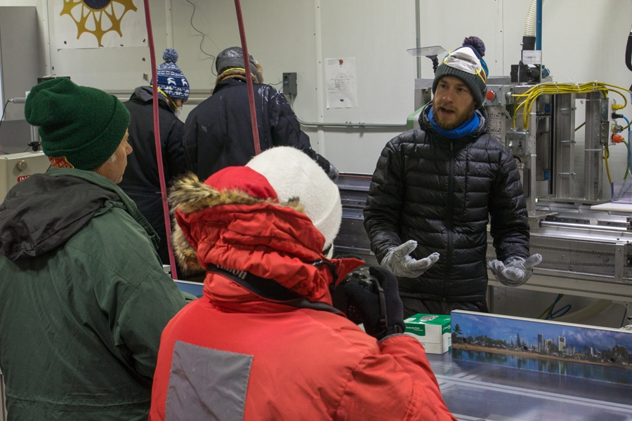 Luke Trusel of the Woods Hole Oceanographic Institute describes to School of Ice participants how he and his colleagues store and process ice cores at the National Ice Core Laboratory