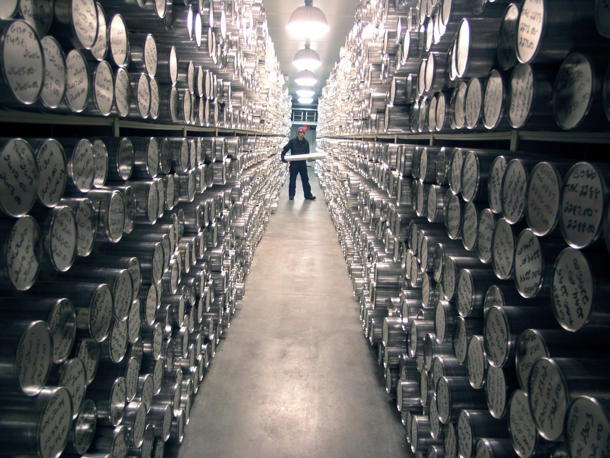 View inside NICL's main archive freezer, which is held at a temperature of -36°C Each silver tube on these shelves contains a 1-meter long section of an ice core