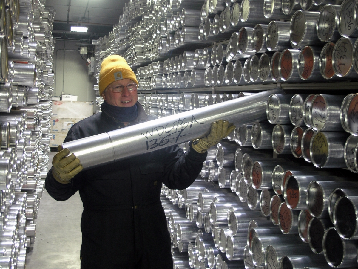 Geoff Hargreaves, Curator, inside the main archive freezer at the NSF Ice Core Facility
