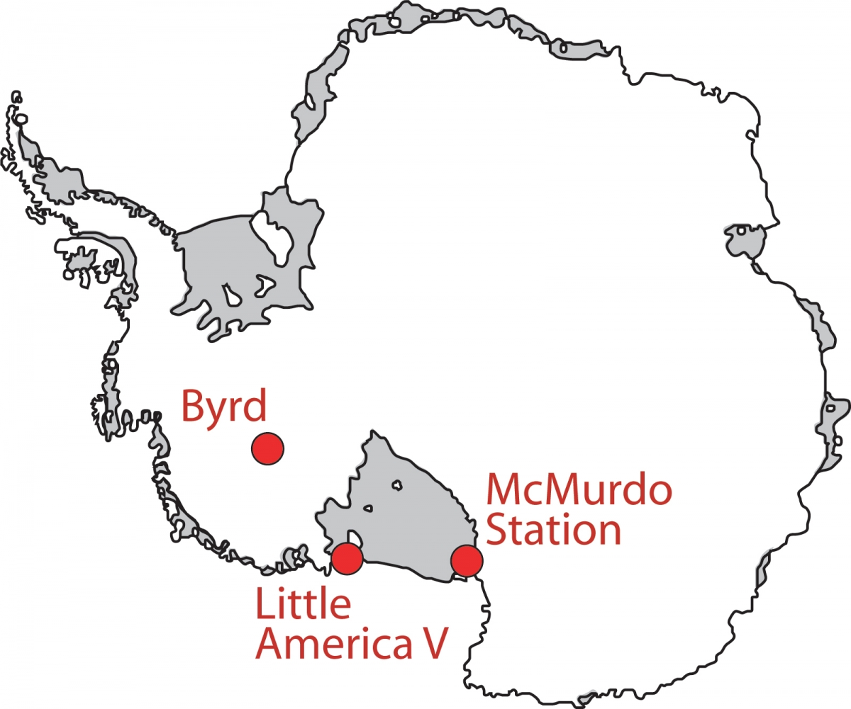 Map of Antarctica showing locations mentioned in the text